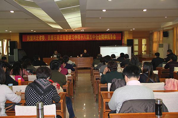 民盟石家庄市委、民盟河北省委共同举办学习十八届五中全会精神报告会